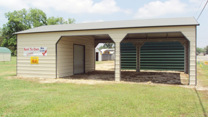 24x36x9 Side Entry Carport Storage Combo
