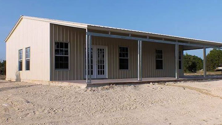 24x40 metal frame building with large front porch
