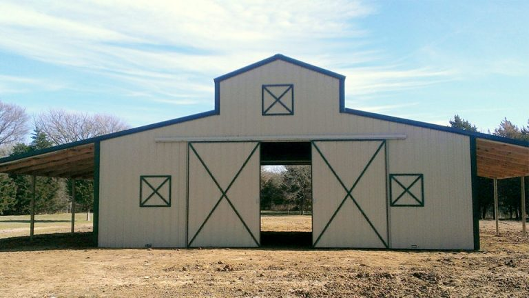 48x36x16/10 Raised Center Aisle with 2 12x36 lean to's