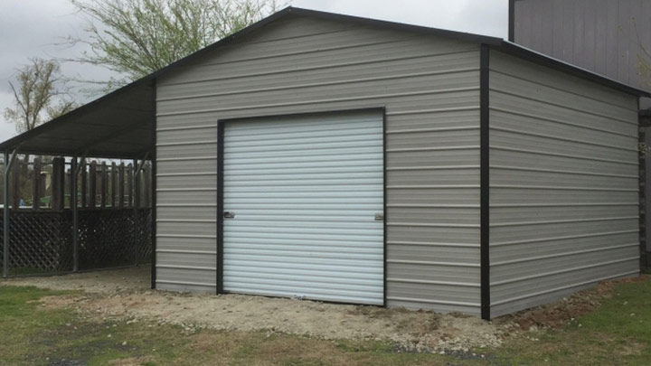 20x20 Garage with a lean to cover
